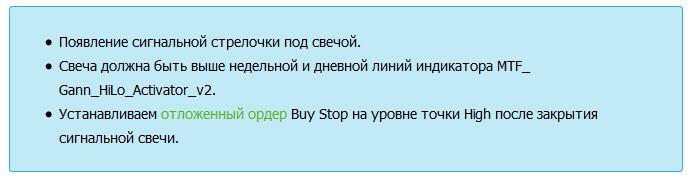 Форекс стратегия Alpha Trader вход на покупку